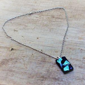 Dichroic Deep Blue Glass Vintage Pendant Necklace